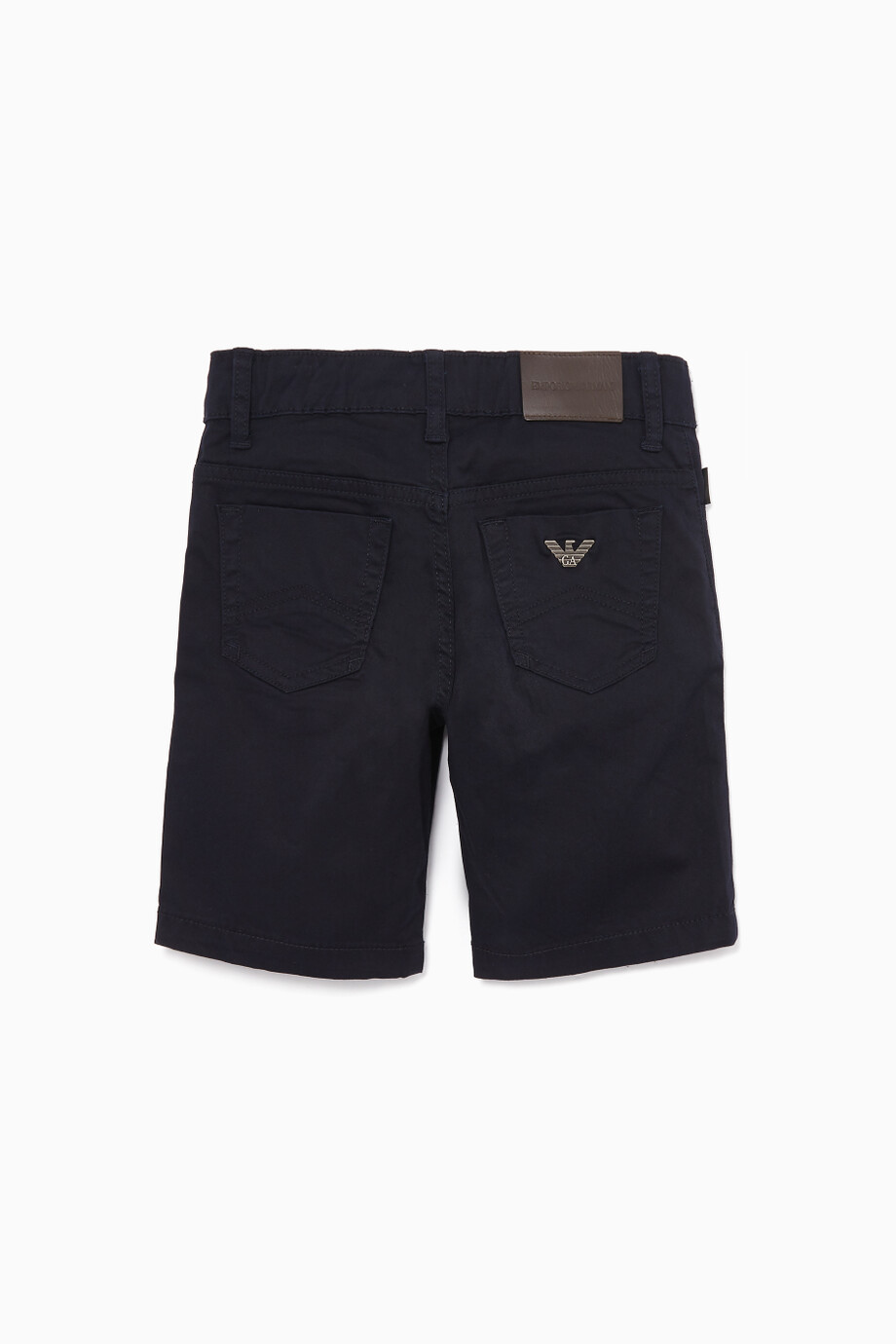 2bf4ff6e7 Shop Emporio Armani Blue Navy Cotton-Gabardine Shorts for Kids | Ounass