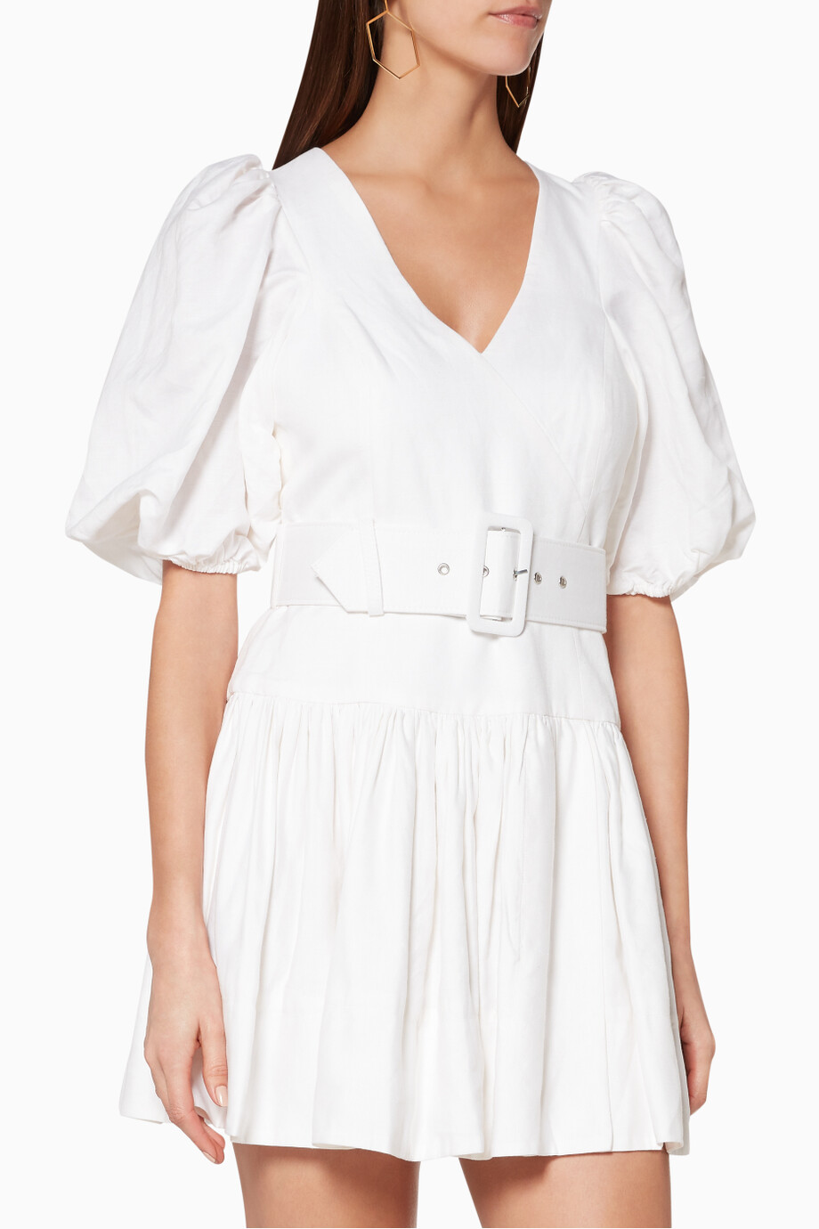 363a093ff2 Shop SHONA JOY Neutral White Gaia Linen Mini Dress for Women
