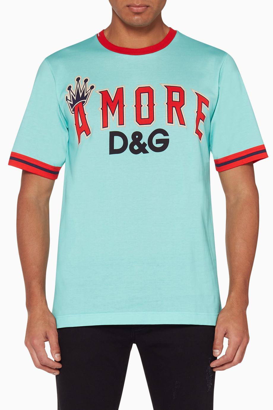 1986ecaa Shop Dolce & Gabbana Blue Amore DG Logo T-Shirt for Men | Ounass