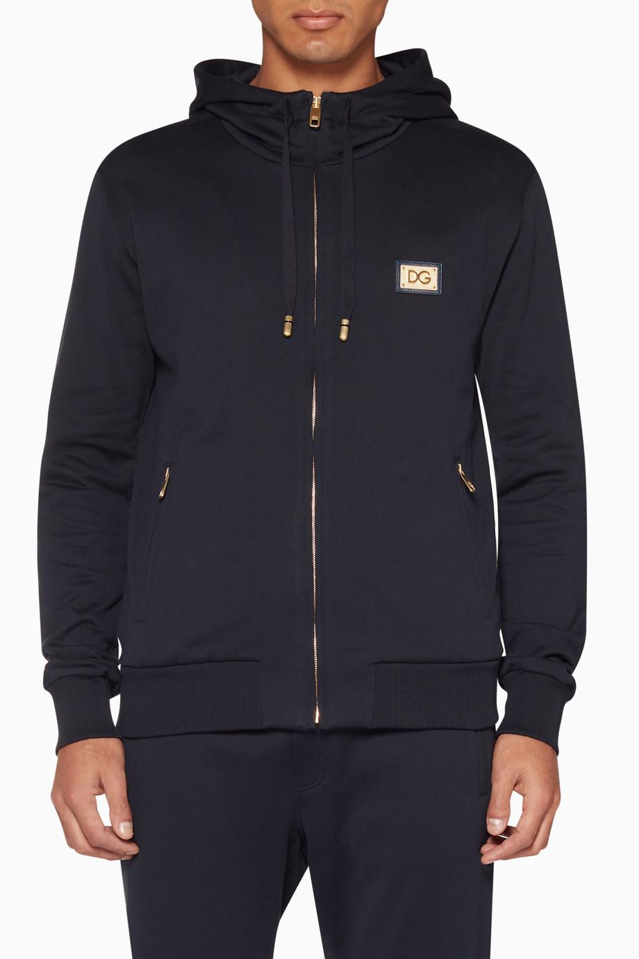 85a41bd5442 Shop Dolce & Gabbana Blue Dark Blue Hooded Zip Up Sweatshirt for Men ...