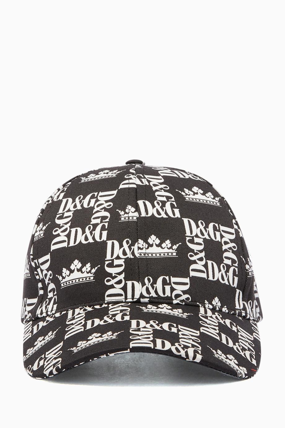 6c30ed5f5 Shop Dolce & Gabbana Black DG Crown Logo Baseball Cap for Men ...