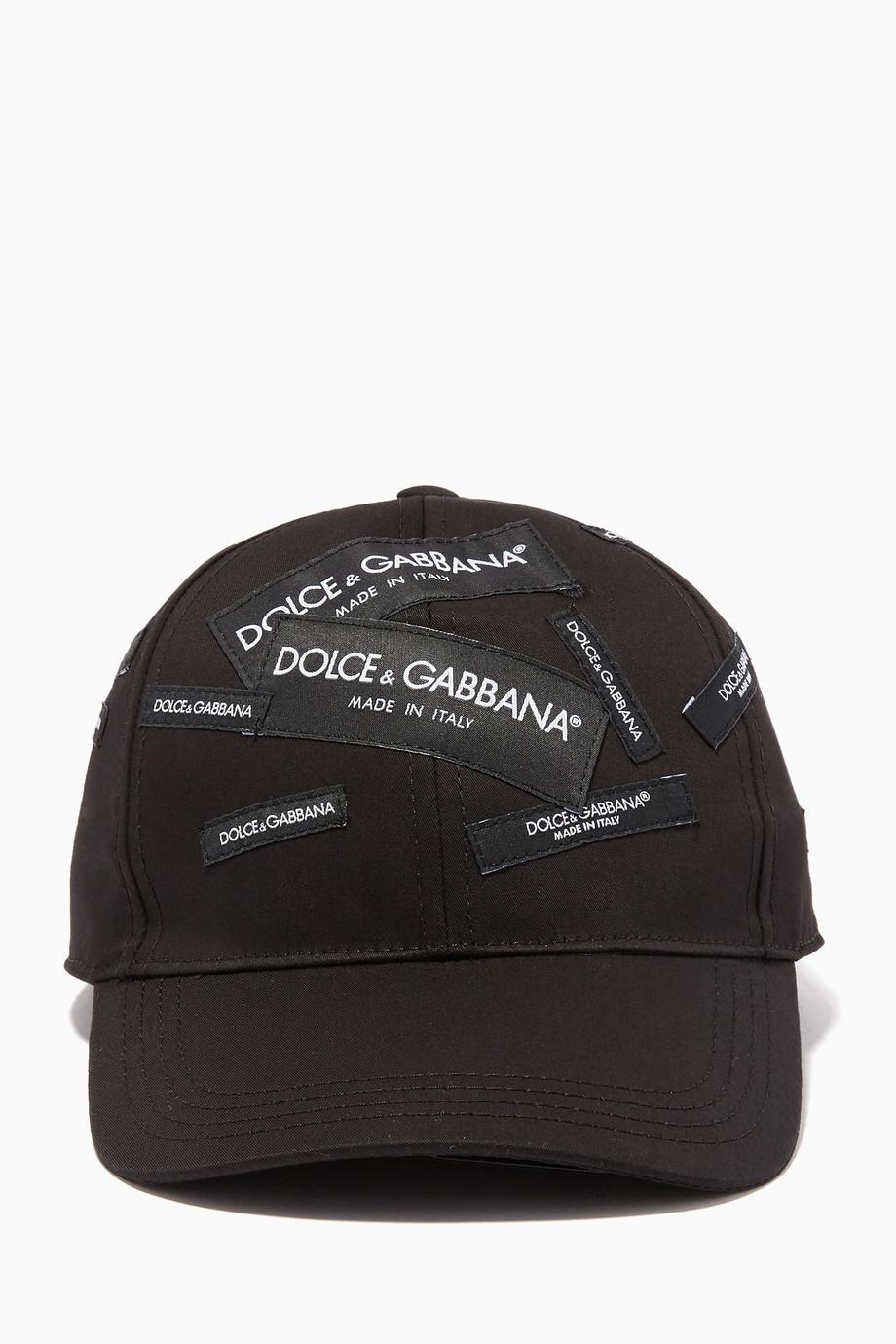 78d4a236a Shop Dolce & Gabbana Black Black Embroidered Labels Cap for Men ...