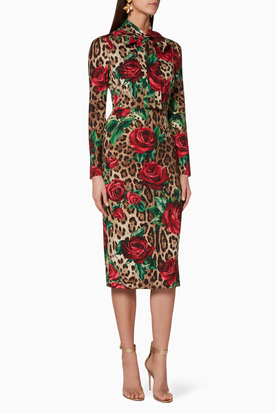 c5a7a923f632 Shop Dolce & Gabbana Brown Leopard & Rose-Print Silk Midi Dress for ...