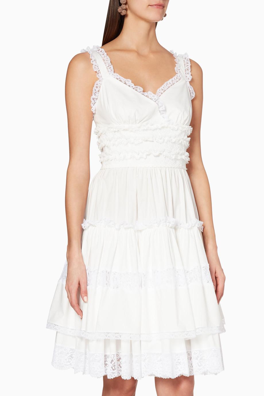 139b83d80b1 Shop Dolce   Gabbana White White Poplin Lace Frill Dress for Women ...