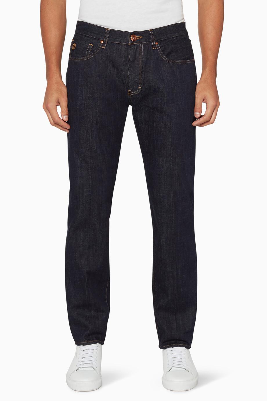e4cf51ab Shop Giorgio Armani Blue Medium-Wash Tapered Jeans for Men ...