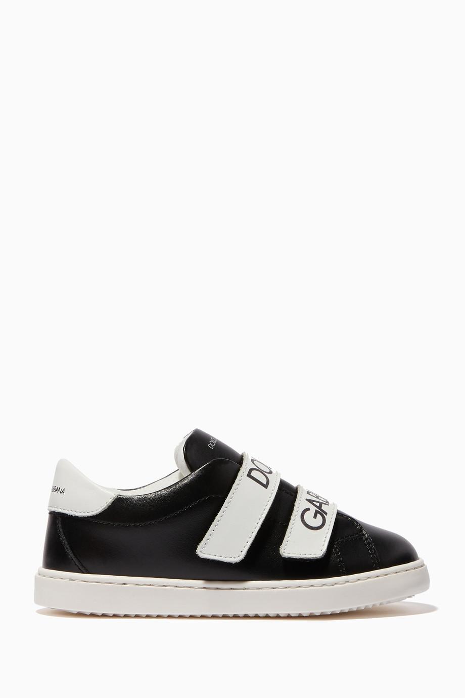 1810b1dc743b Shop Dolce   Gabbana Black Black   White Logo Strap Sneakers for ...
