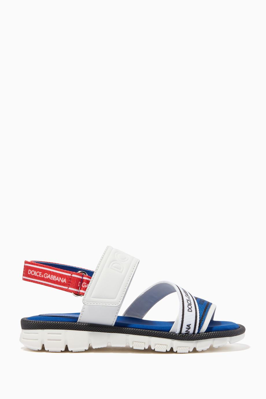 69a698bf511b Shop Dolce   Gabbana Blue White   Blue Logo Strap Sandal for Kids ...