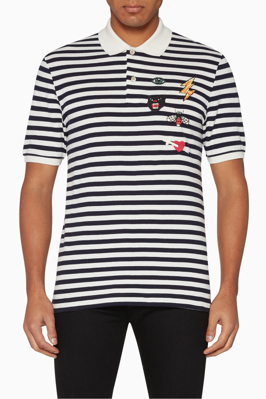 aebc4683 Shop Gucci Blue Embroidered Appliqué Badges Striped Polo Shirt for ...