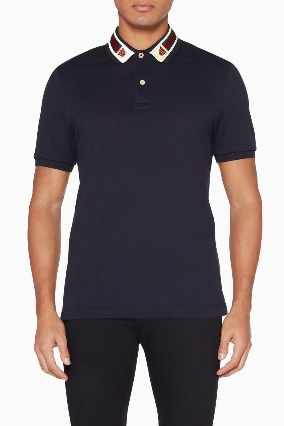 ab31916f45d3 Shop Gucci Blue Dark-Blue Web & Feline Head Polo T-Shirt for Men ...