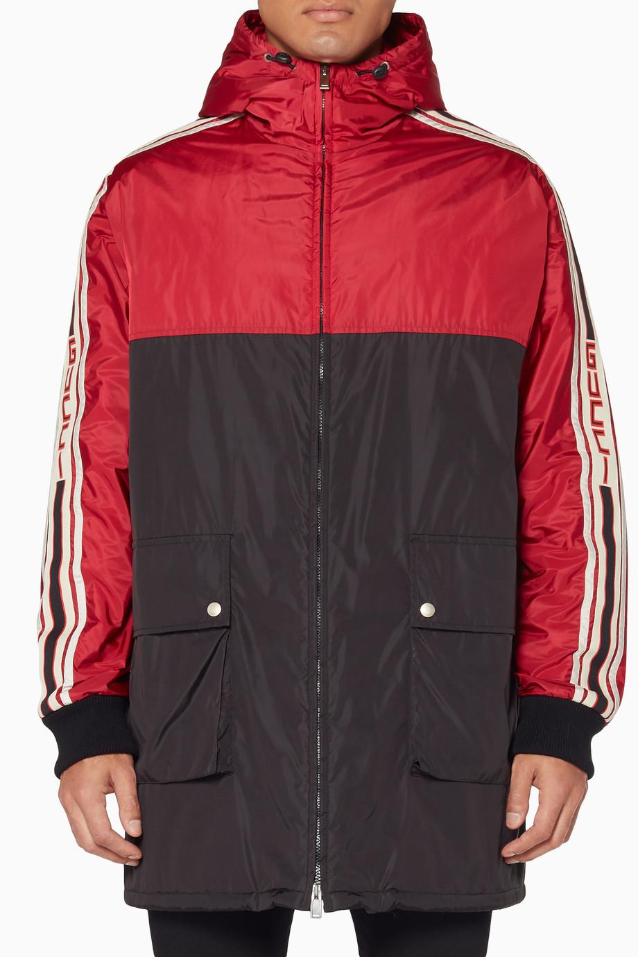 598d2000b714f Shop Gucci Red Red   Black Gucci Stripe Nylon Coat for Men