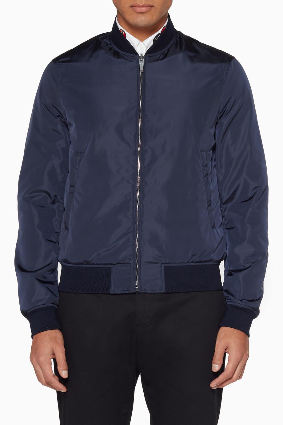 4bc59e069dec Shop Gucci Black Navy Reversible GG Jacquard Nylon Bomber Jacket for ...