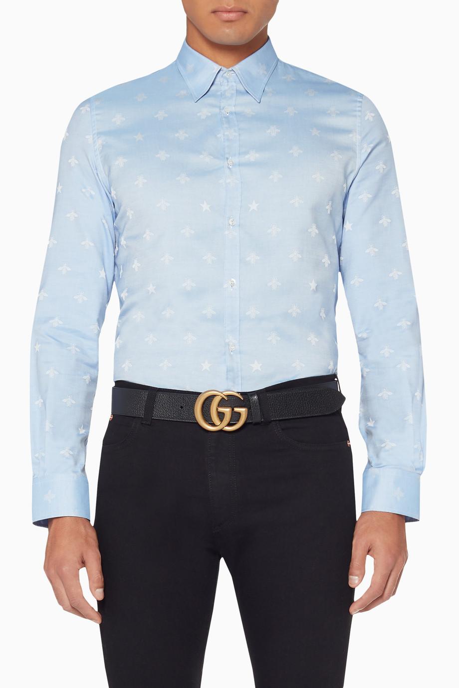 06088508 Shop Gucci Blue Light-Blue Duke Slim-Fit Shirt for Men | Ounass Saudi