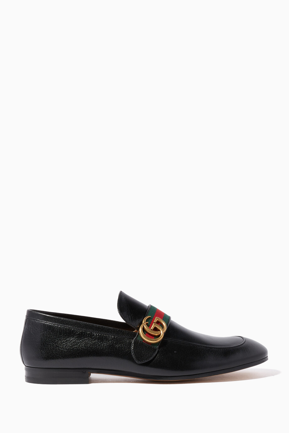 79258e263a24e Shop Gucci Black Black Donnie GG Leather Loafers for Men   Ounass Kuwait