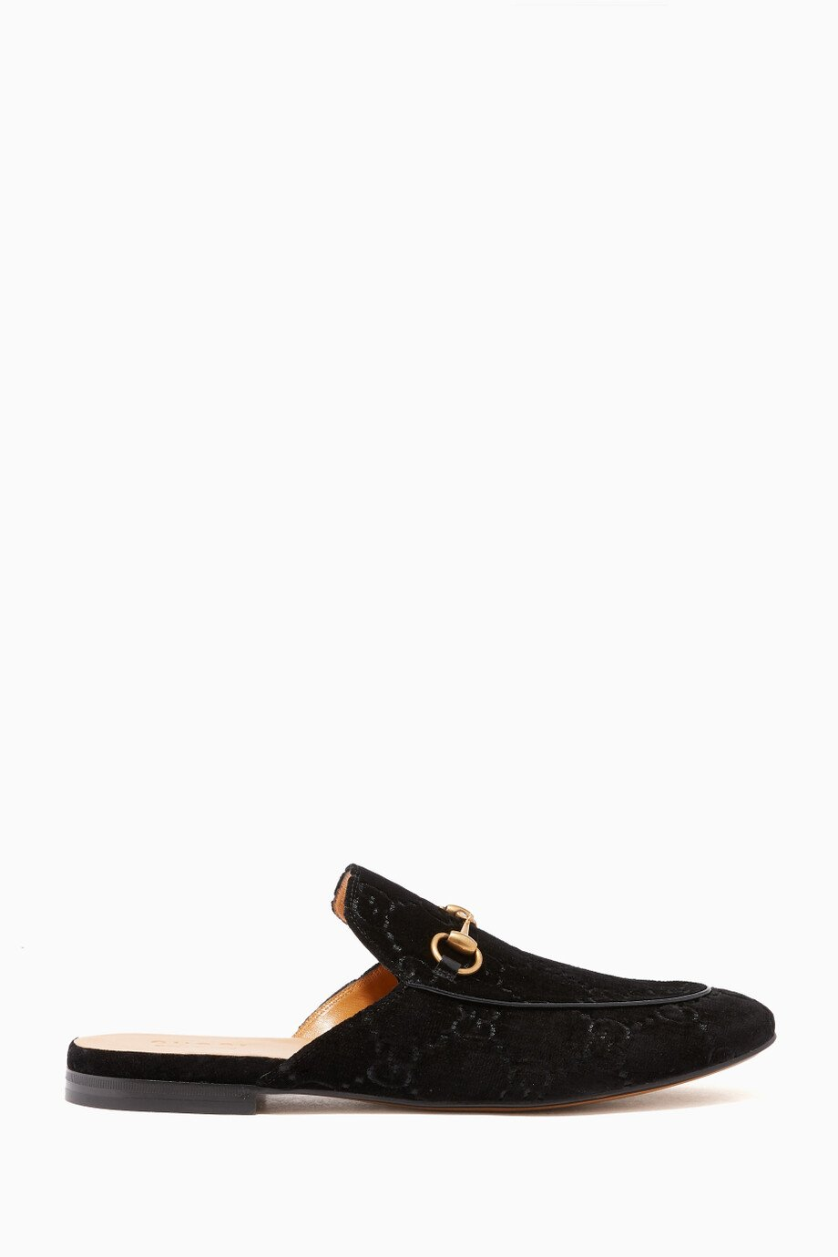 d6ac0155b Shop Gucci Black Black Velvet Kings GG Horsebit Backless Loafers for ...