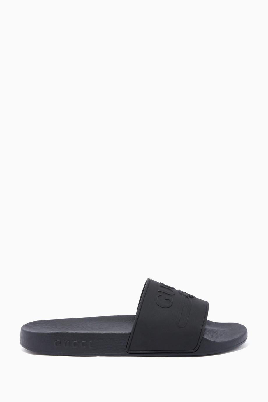 7554f287f Shop Gucci Black Black Tonal Logo Pursuit Slide Sandals for Men ...