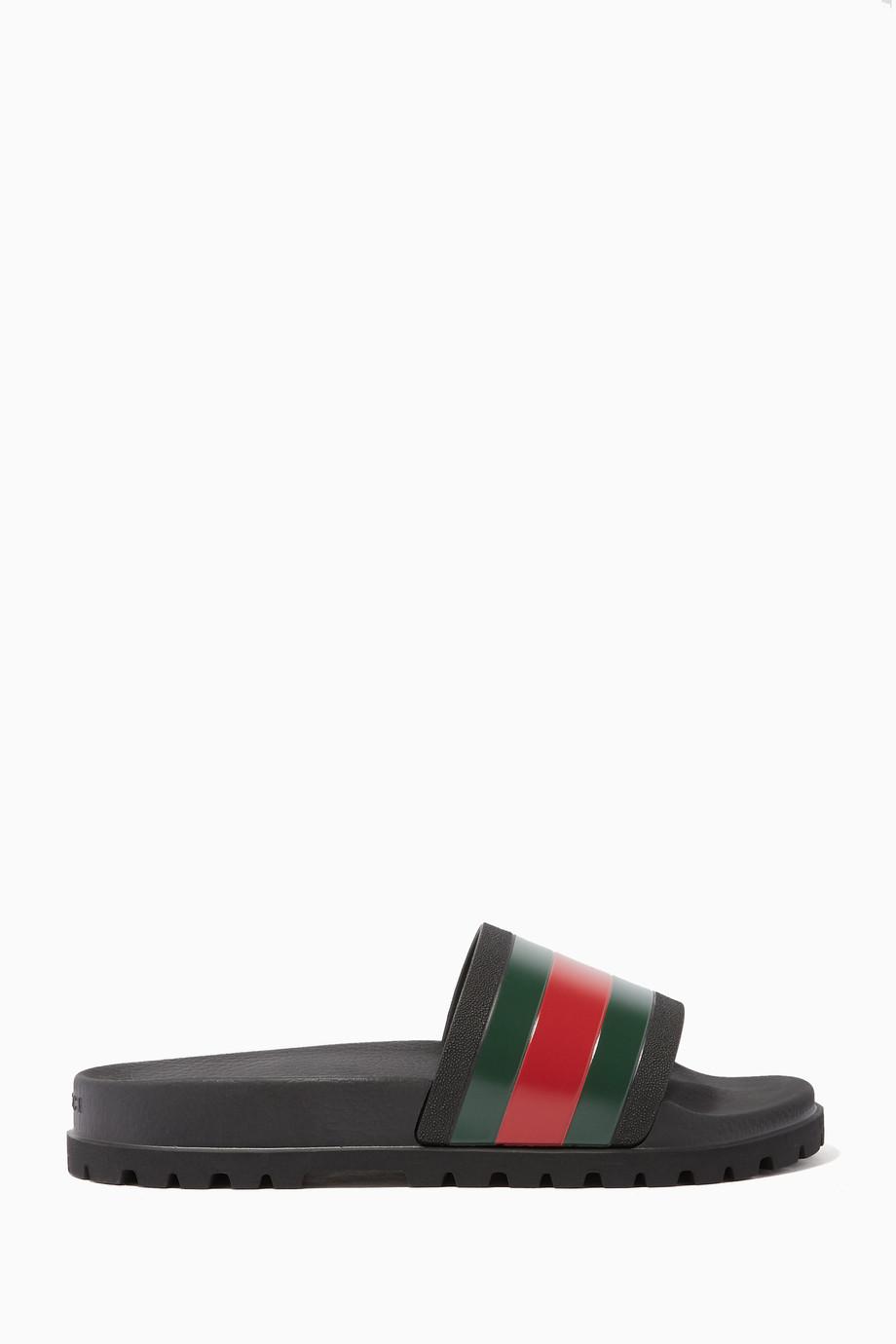 60b6aef8a50 Shop Gucci Black Black Pursuit Trek Web Slide Sandals for Men ...