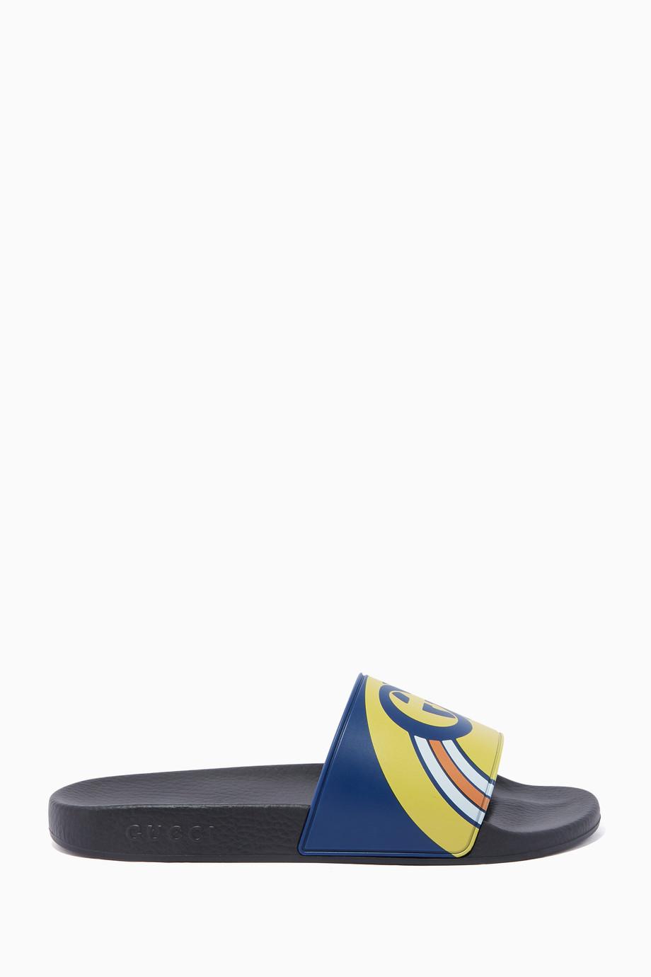 baacf82e04b Shop Gucci Blue Blue Pursuit GG Logo Slides for Men