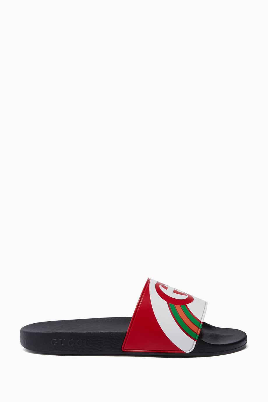 bf1902eb050 Shop Gucci Red Red Pursuit GG Logo Slides for Men