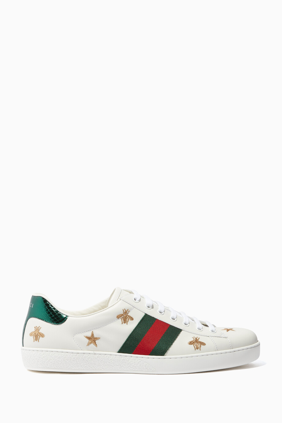 a46077613 MenShoesSneakersLow Top. White Leather Ace Star & Bee-Embroidered Sneakers  ...