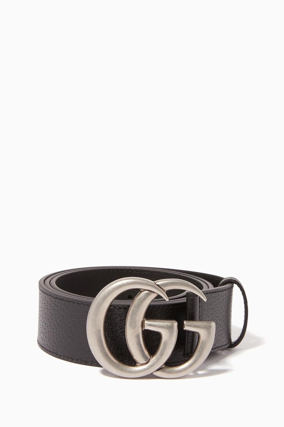 9263f4e4b Shop Gucci Black Double G Buckle Leather Belt for Men | Ounass Saudi