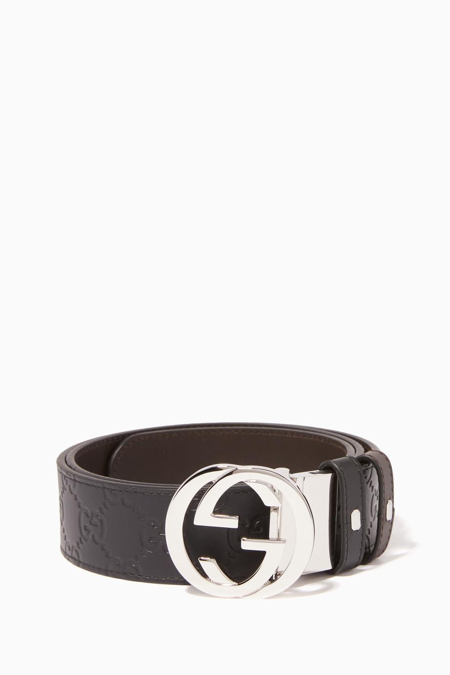 2be9f270b50 Shop Gucci Black Reversible Logo Buckle Leather Belt for Men   Ounass