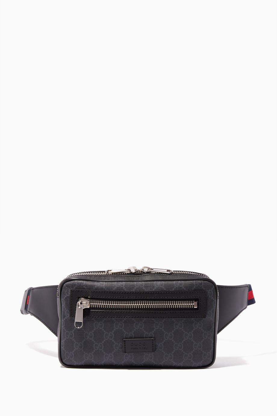 ce6bfb2fb20 Shop Gucci Black Black   Grey GG Supreme Belt Bag for Men