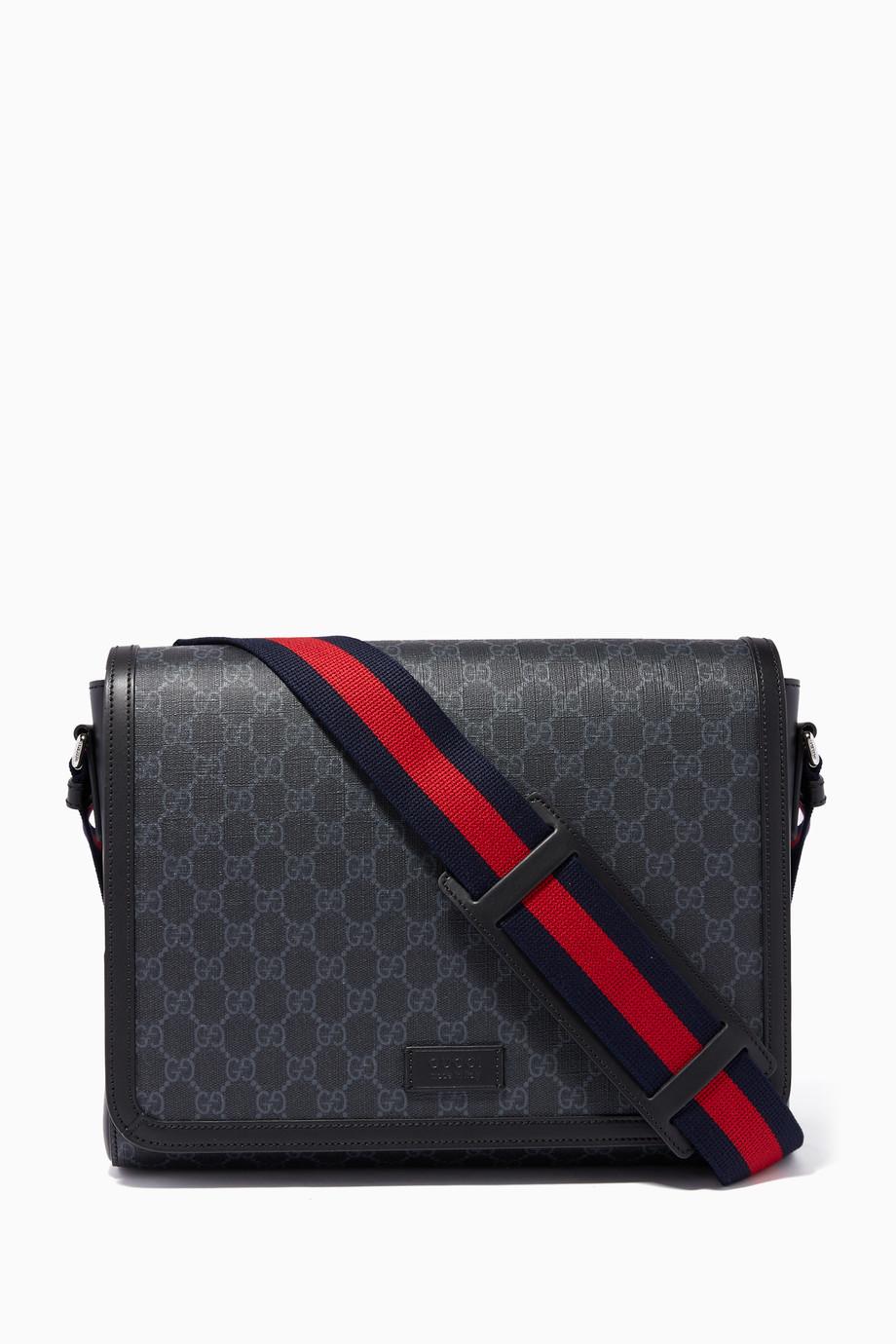 480aea6e7faf Shop Gucci Black Black & Grey GG Supreme Messenger Bag for Men | Ounass