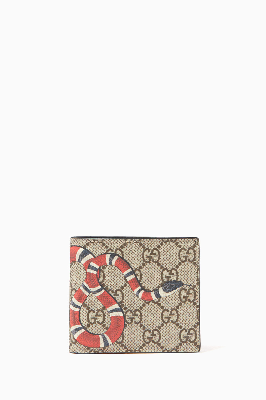 2b164bbee1d8 Shop Gucci Neutral Beige & Ebony Kingsnake Print GG Wallet for Men ...