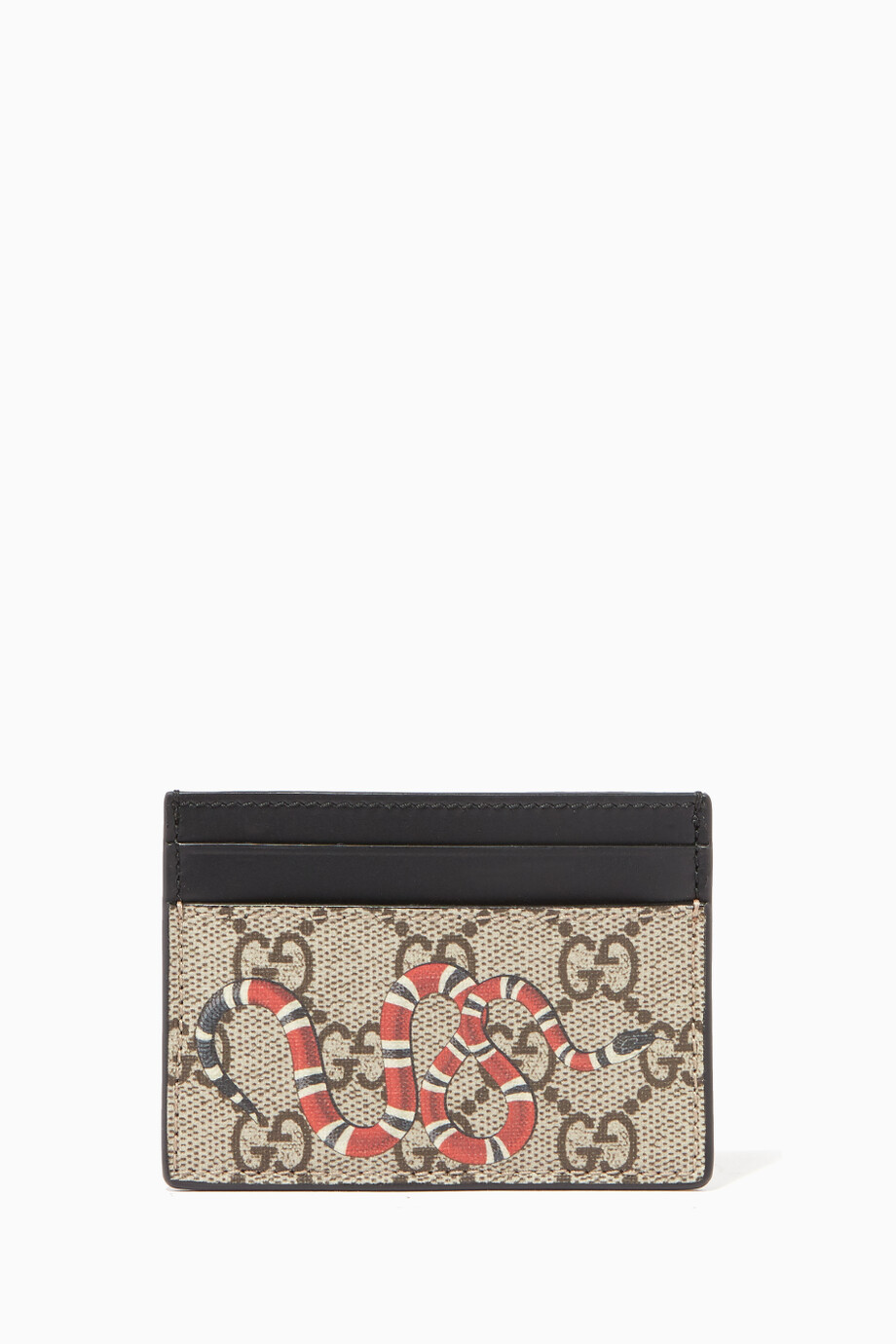 9ee308151f92 Shop Gucci Neutral Beige & Ebony Kingsnake Print GG Card Case for ...