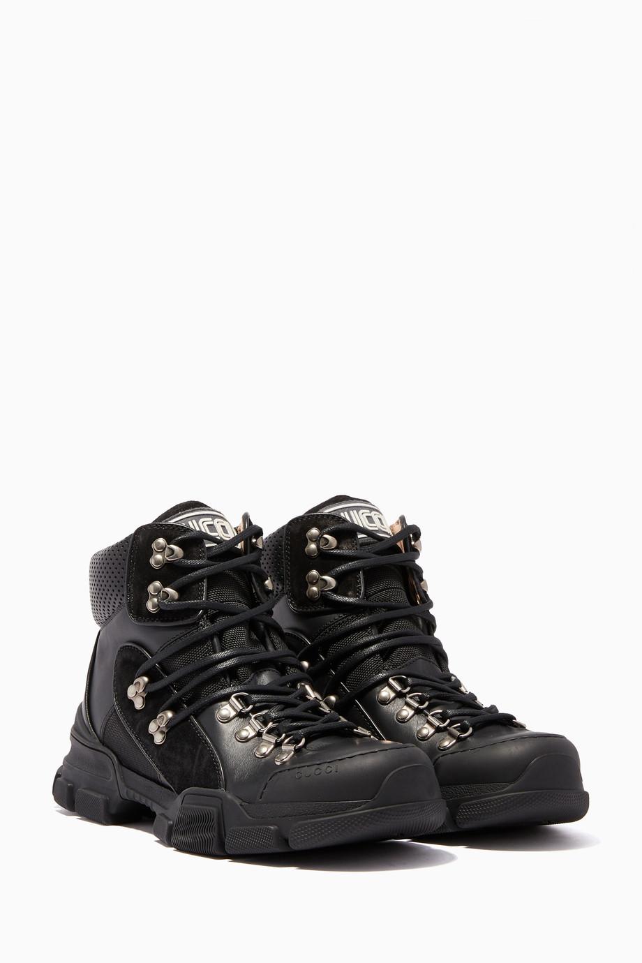 cf281f6fe Shop Gucci Black Black Flashtrek High-Top Sneakers for Women | Ounass