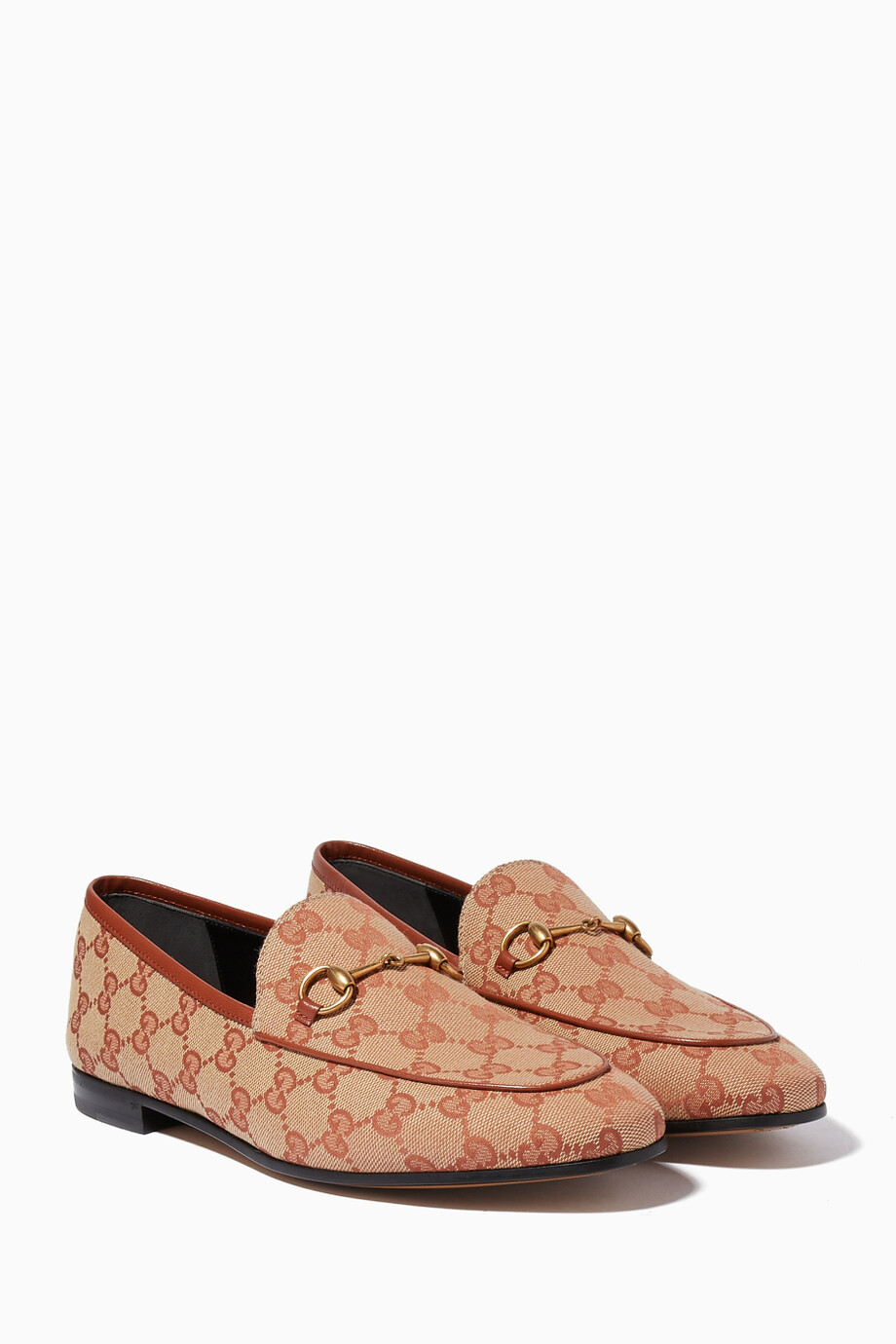 d66ce86b384 Shop Gucci Brown Brick Red   Beige Jordaan GG Canvas Loafers for ...