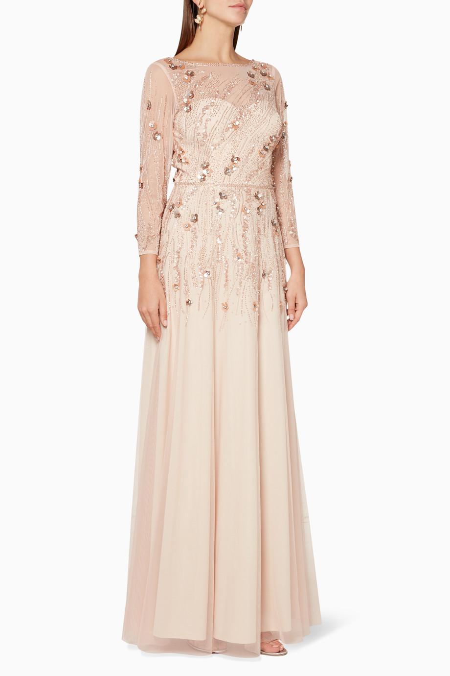 2c2103e4a تسوق فستان سهرة بتطريز زهور بيج ثيا لون طبيعى للنساء | اُناس السعودية