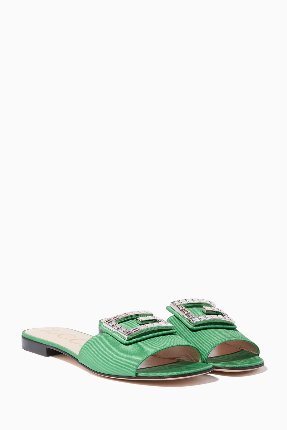 58f4e9316b Shop Gucci Green Green Madeline Moiré Slides for Women | Ounass UAE