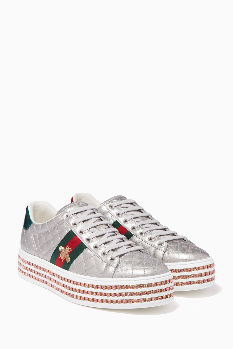 512964d8288a Shop Gucci Silver Silver Ace Crystal Sneakers for Women | Ounass