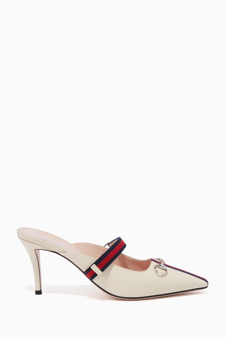 543408fc4c24 Shop Gucci White Off-White Emma Leather Mules for Women