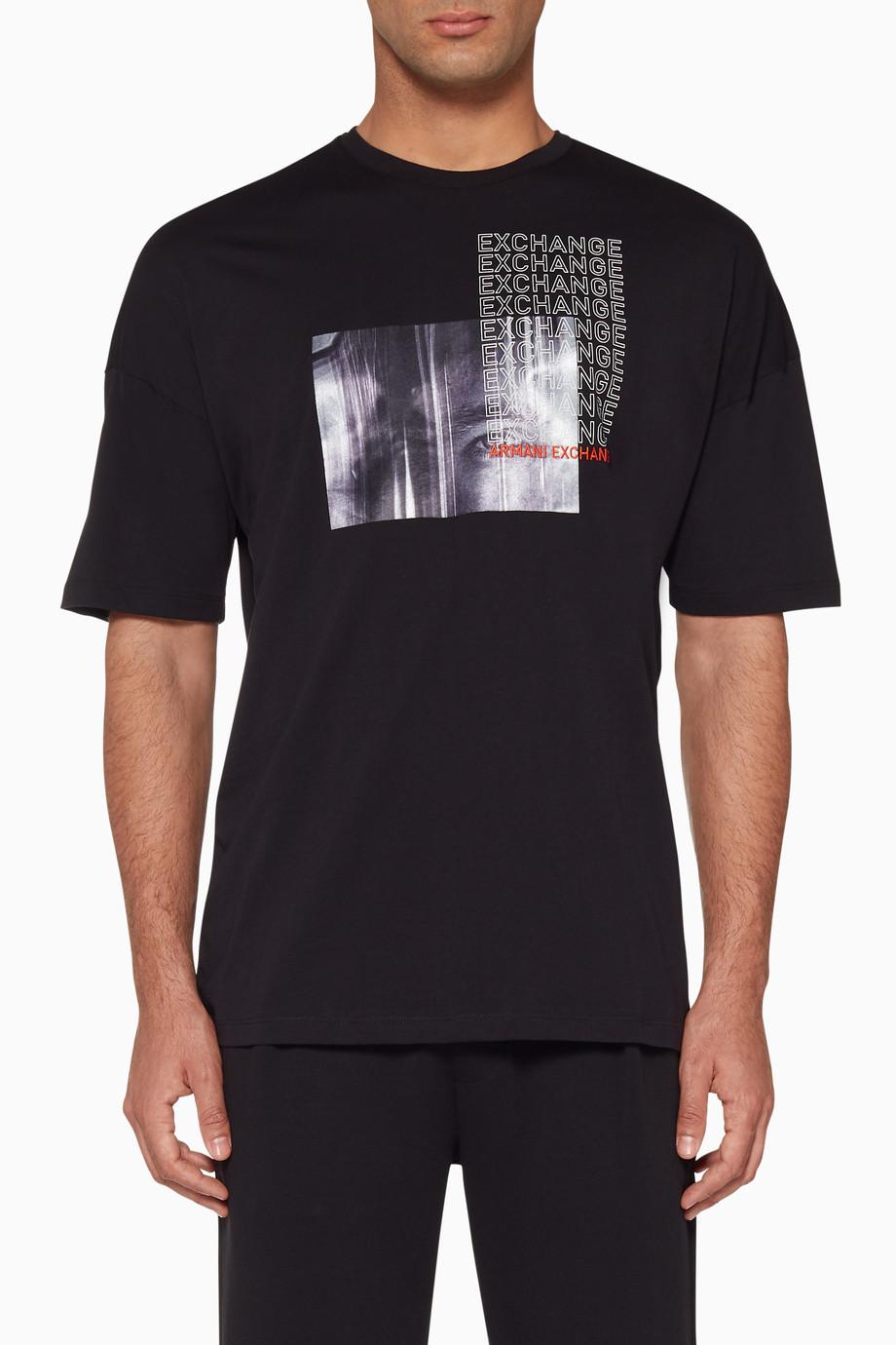 a83d5efe839 Shop Armani Exchange Black Black Graphic Print Logo T-Shirt for Men ...
