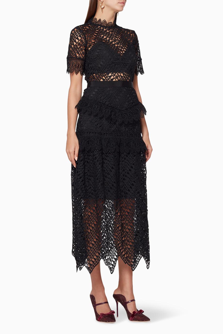 e2d257f48de Shop Self-Portrait Black Black Abstract Triangle Lace Midi Dress for ...