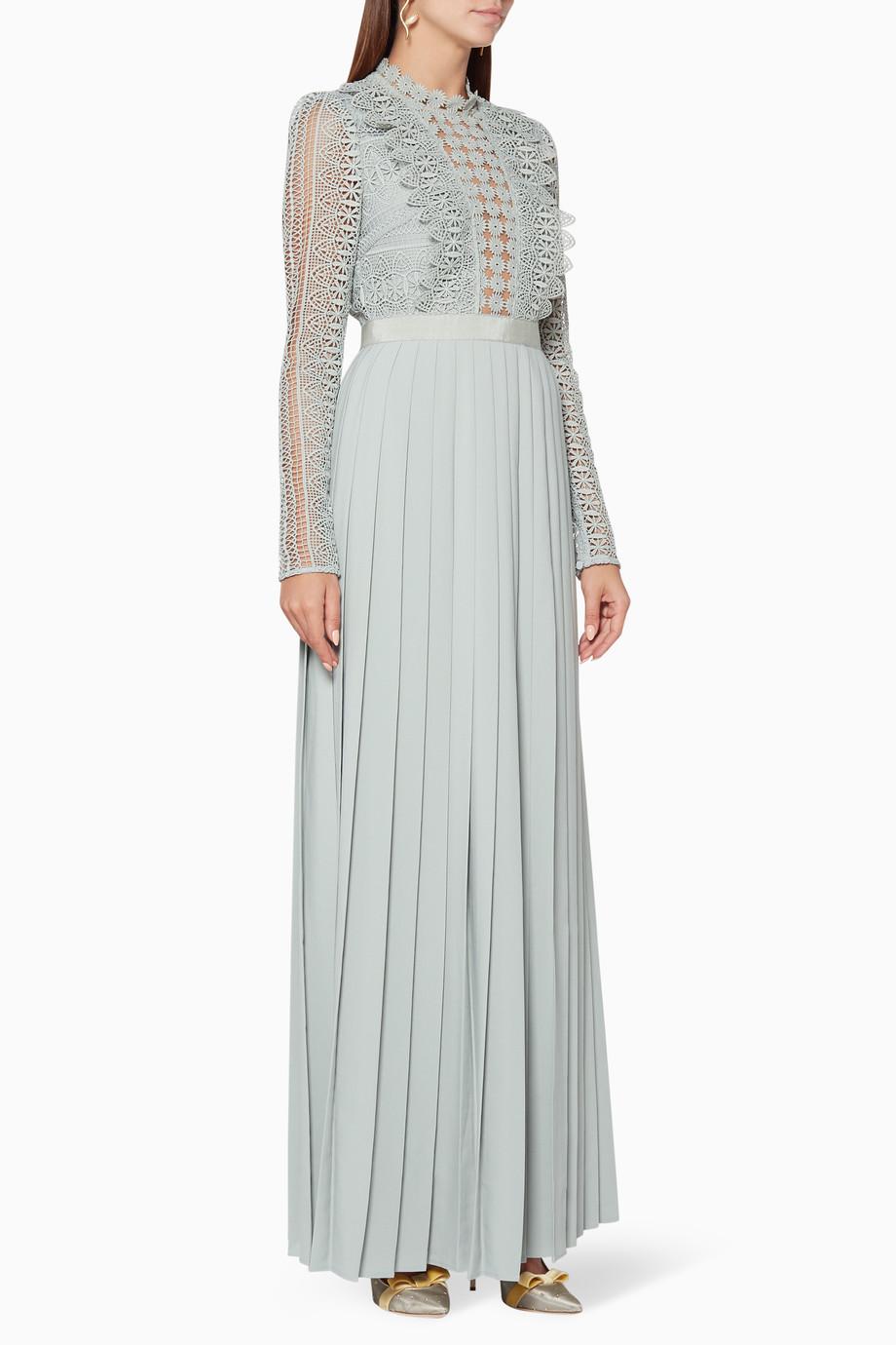 b7184243288 Shop Self-Portrait Blue Grey-Blue Spiral Lace Maxi Dress for Women ...