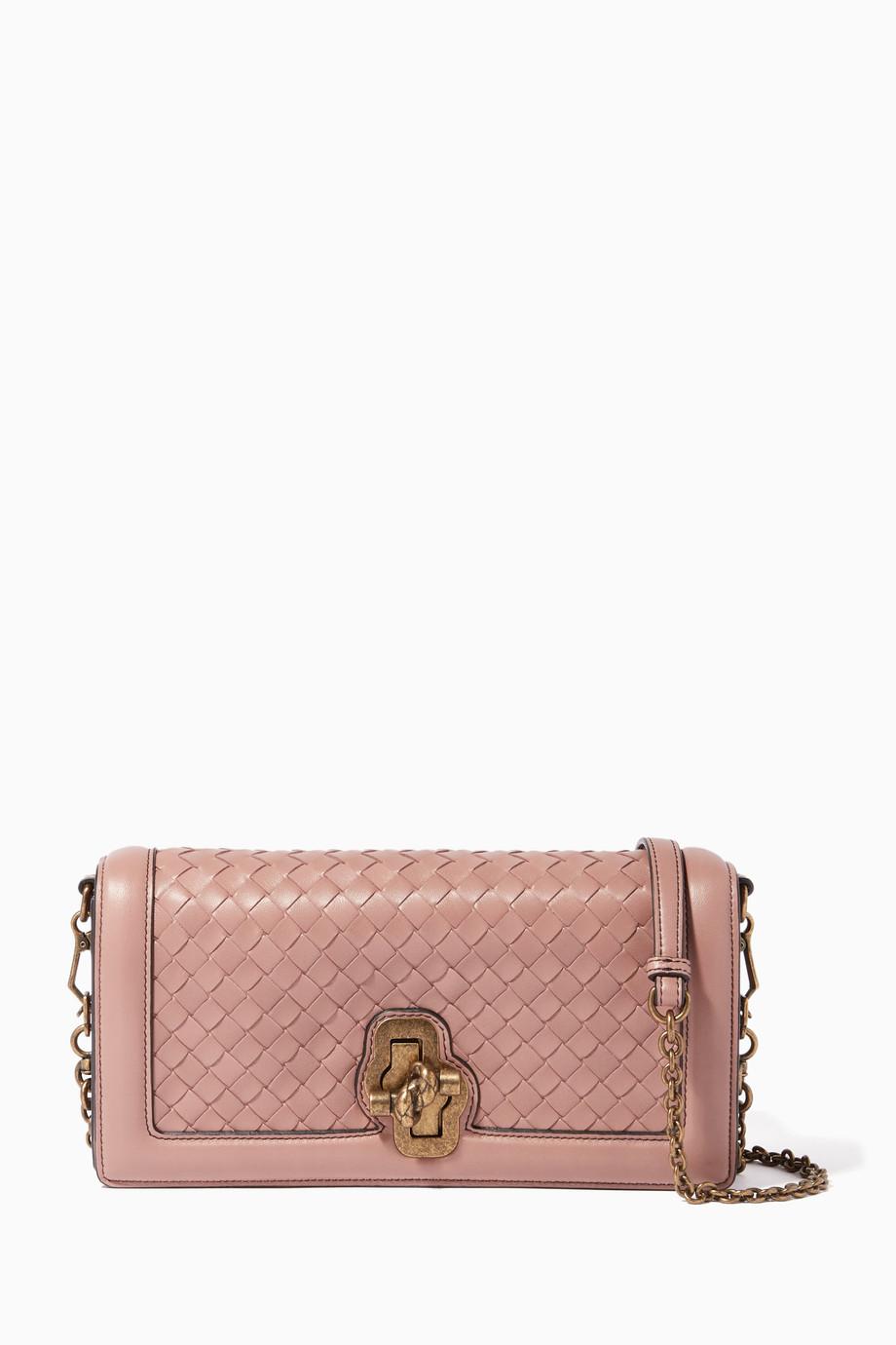 Shop Bottega Veneta Pink Deco-Rose Intrecciato Knot Clutch for Women ... 00a6d38b5ba6c