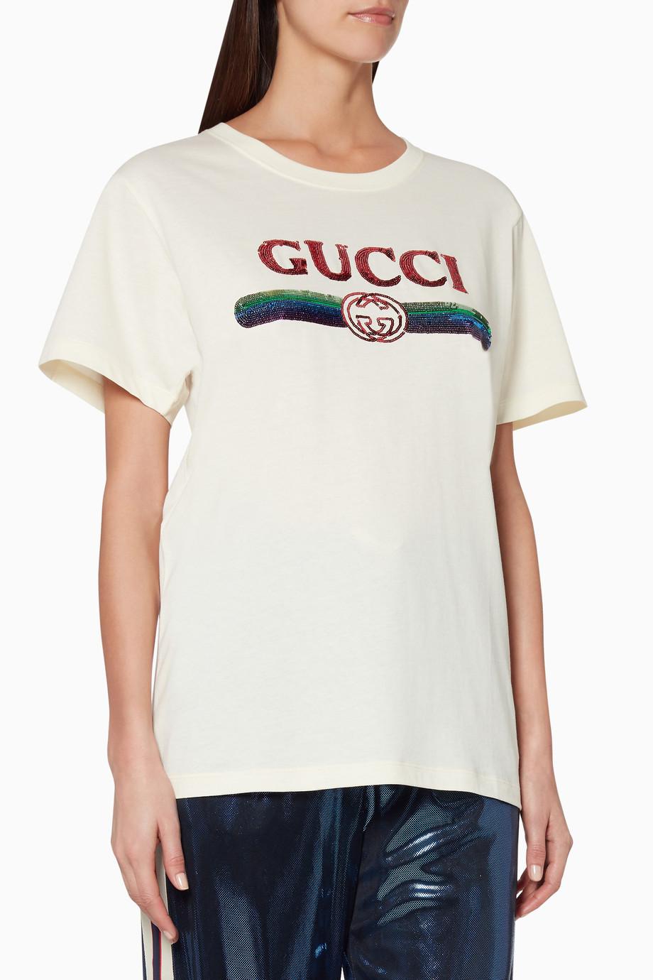 3e45b829d Shop Gucci Neutral Off-White Sequin Logo T-Shirt for Women   Ounass UAE