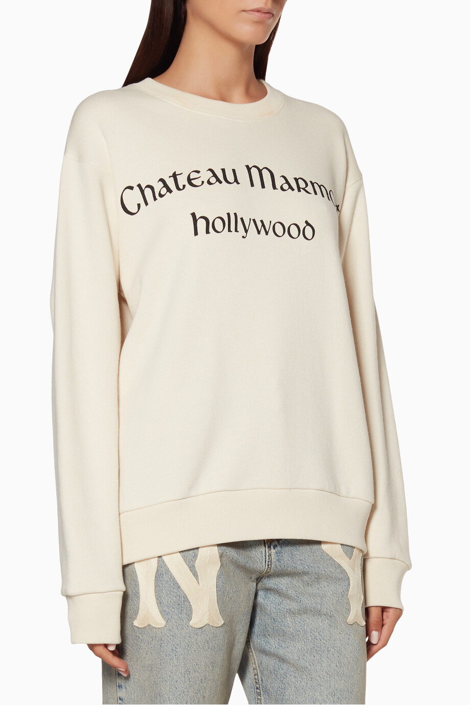 05163634835b Shop Gucci Neutral Off-White Oversized Chateau Marmont Sweatshirt ...