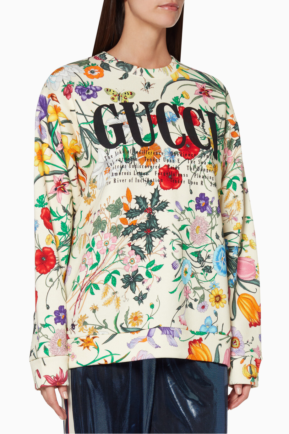 7bad5c59 Shop Gucci Neutral Ivory Floral Oversized Sweatshirt for Women | Ounass
