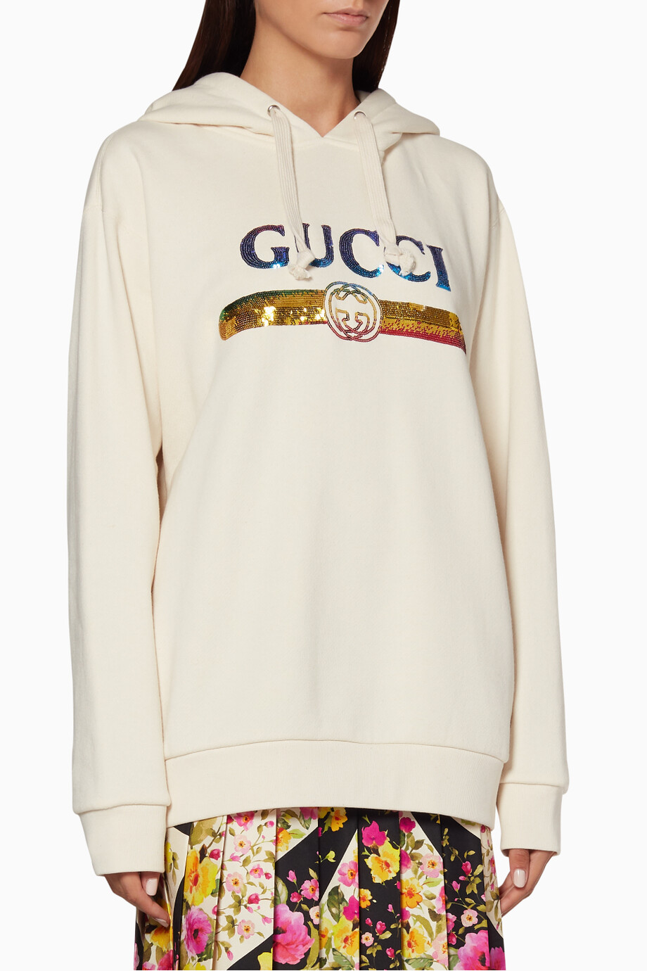 539dc37c8ef Shop Gucci Neutral Off-White Sequined Logo Hoodie for Women
