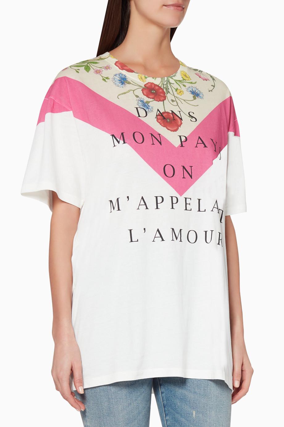 65ea7275 Shop Gucci Neutral Ivory Floral Print T-Shirt for Women | Ounass UAE