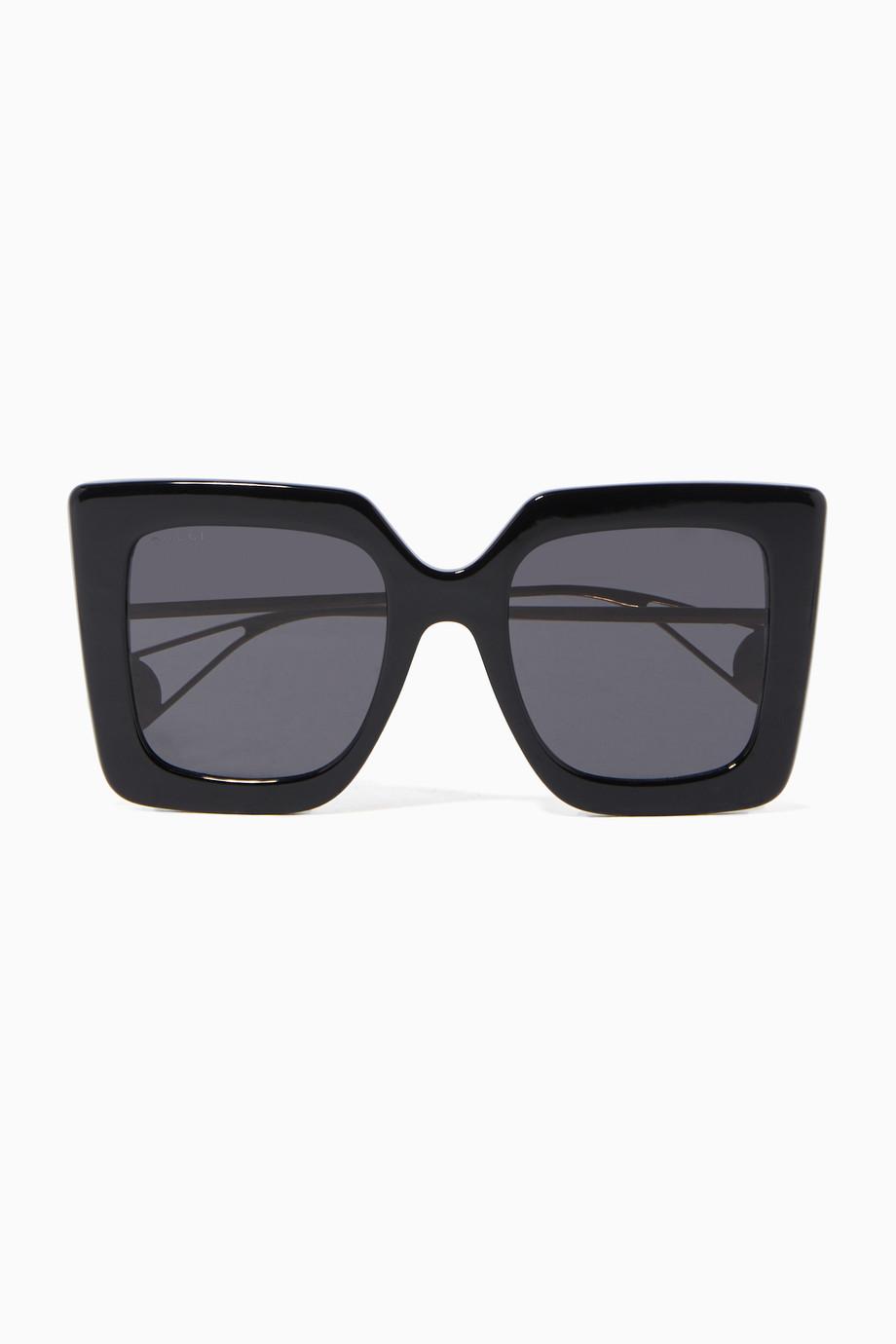 7785208a8 تسوق نظارة شمسية أسيتات بإطار مربع أسود Gucci أسود للنساء | اُناس