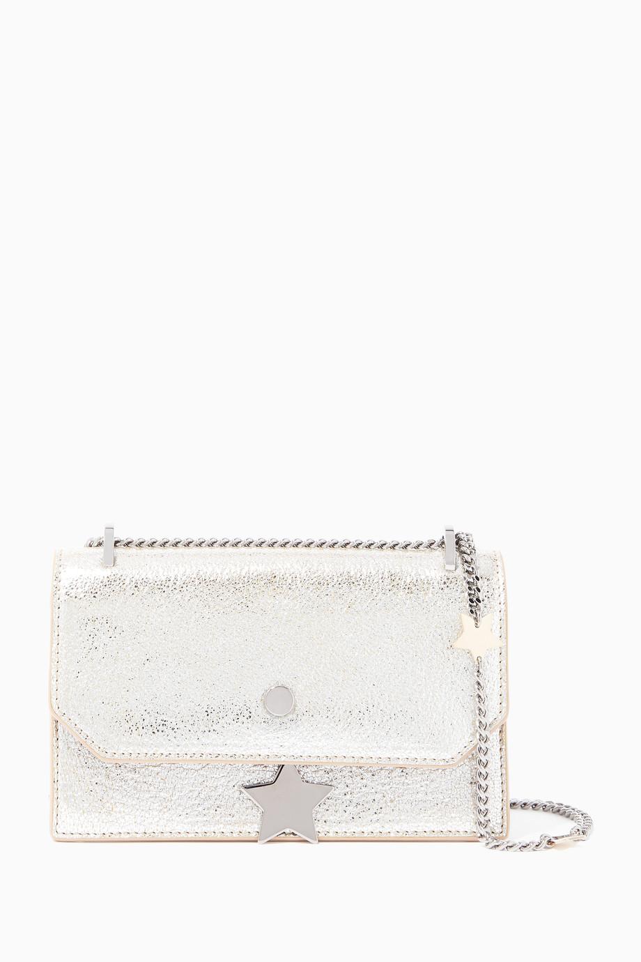d2b7949768017 تسوق حقيبة كروس سيرينا جلد فضية جيمي تشو لون طبيعى للنساء