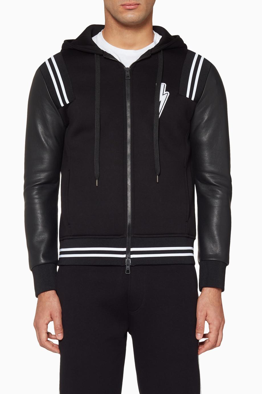 Shop Neil Barett Black Black Thunderbolt Varsity Hooded