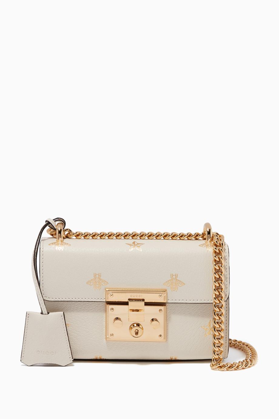 1afcb525cc48 Shop Gucci Neutral Ivory Stars   Bees Printed Padlock Shoulder Bag ...