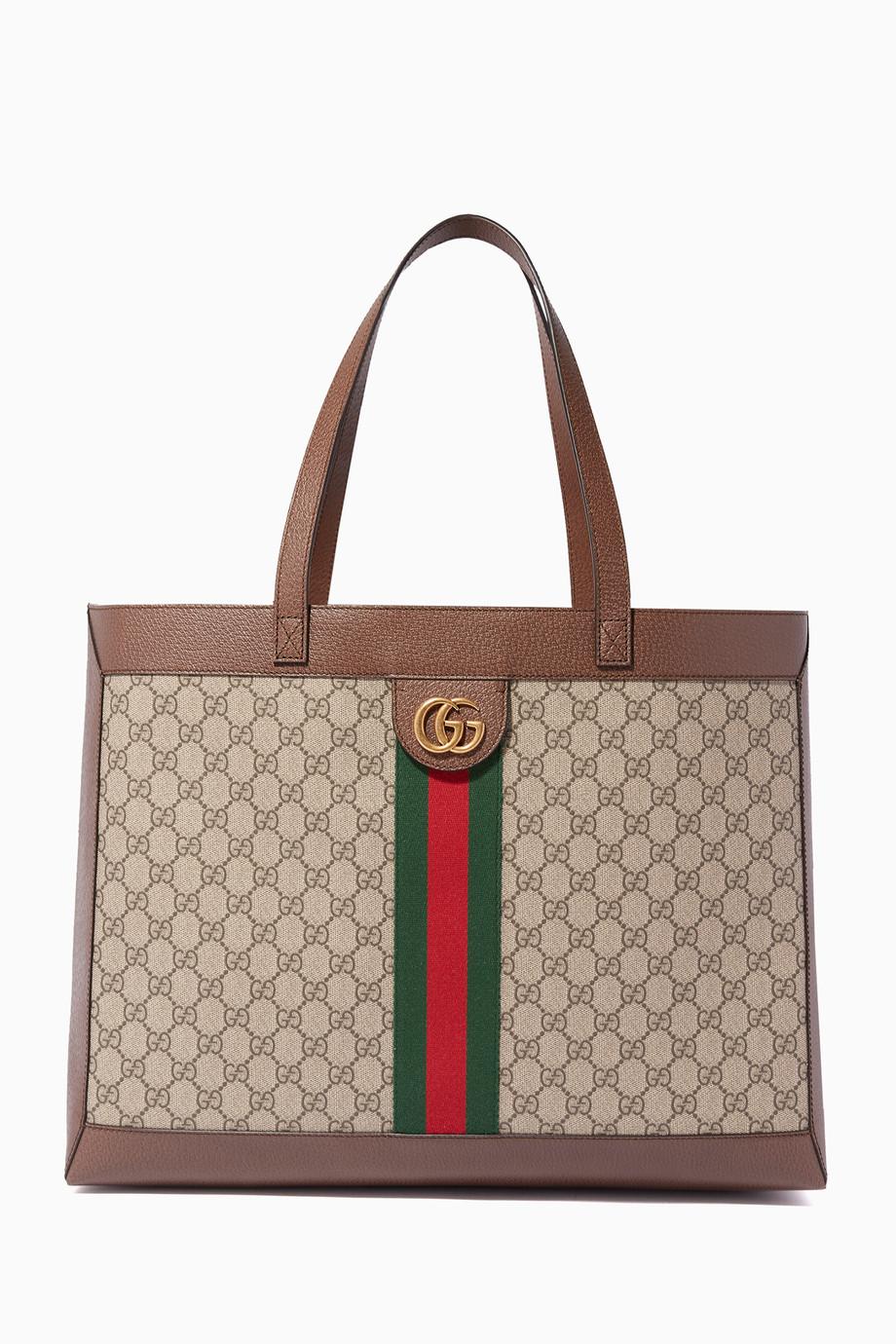 41bb16bf3f44d تسوق حقيبة يد أوفيديا بحرفي GG بيج وبني Gucci لون طبيعى للنساء ...