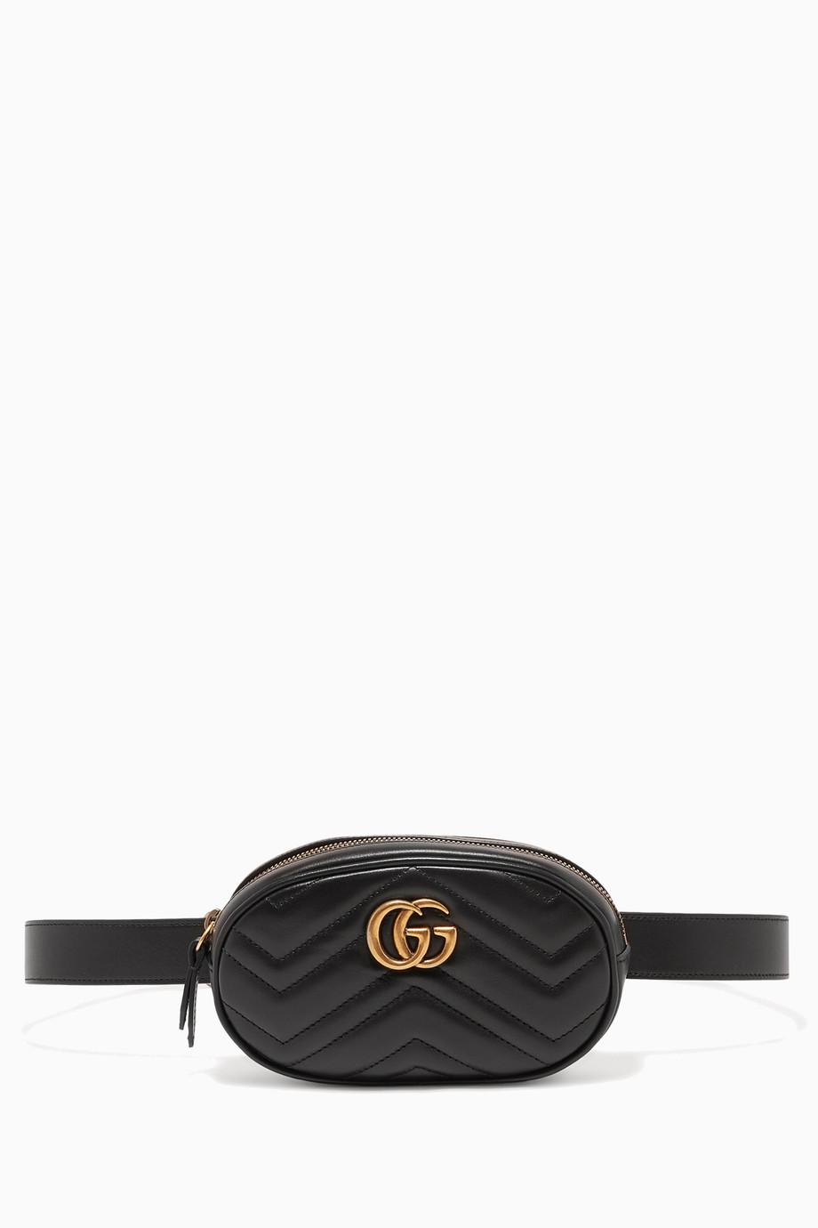 f18e505ca316 Shop Gucci Black Black Marmont Matelassé Leather Belt Bag for Women ...
